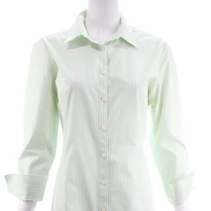BROOKS BROTHERS WHITE GREEN STRIPED SHIRT SIZE 16